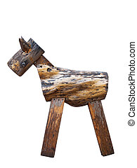 vintage wooden toy horse isolated