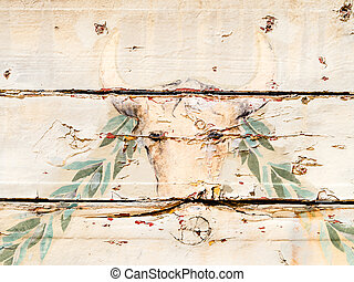 vintage wooden wall with painted bull