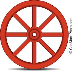 Vintage wooden wheel with shadow on white background