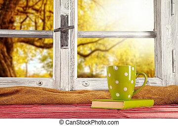 Vintage wooden window overlook autumn trees, shot from ...