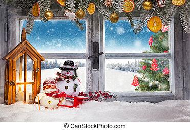 Vintage wooden window overlook winter landscape, shot from ...