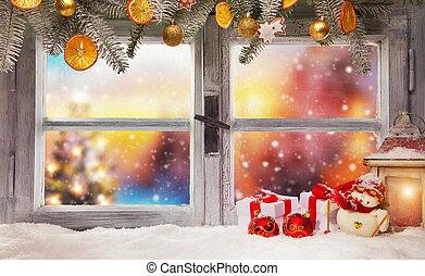 Vintage wooden window with blur background - Vintage wooden...