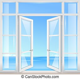 Vintage wooden window with sea view