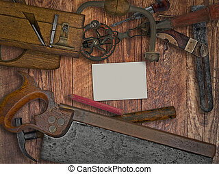 vintage woodworking tools on wooden bench, space for your text on a blank business card