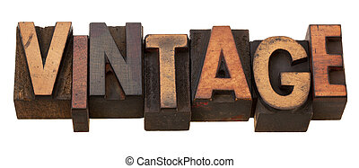 vintage, word in letterpress type