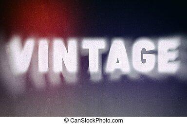 Vintage word on blurred background