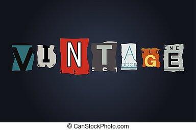 Vintage word on broken car license plates, vector
