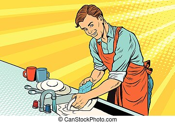 Vintage worker washes dishes. pop art retro vector...