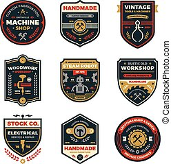 Vintage workshop badges - Set of retro vintage workshop...
