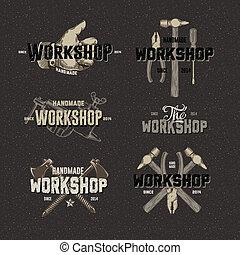 Vintage Workshop conceptual labels, elements and badges with...