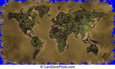 vintage world map burn blue screen