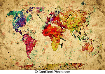 Vintage world map. Colorful paint, watercolor, retro style...