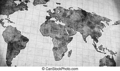 vintage world map loopable panning animation