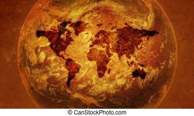 Vintage world map, the globe rotates. - Vintage world map,...