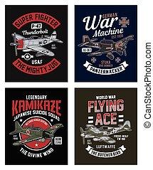 Vintage World War 2 Fighter Plane Graphic T-shirt Collection