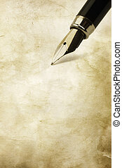 vintage writing - grunge paper texture and ink pen