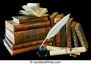 Vintage writing instruments and old books - Still life with ...