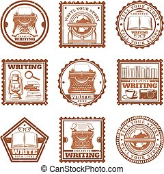 Vintage Writing Stamps Set