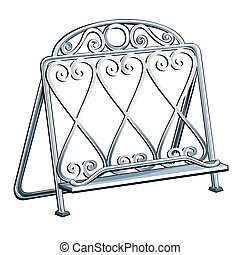 Vintage wrought iron bookends isolated on a white background. Vector illustration.