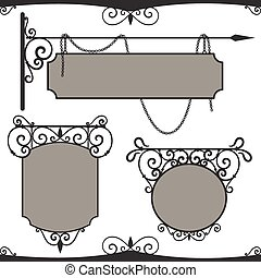 Vintage wrought iron signs. Three vector templates for your design