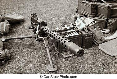 machine gun and ammo boxes