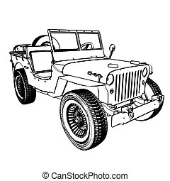Vintage WWII American Jeep, engraving. Vector Illustration,...