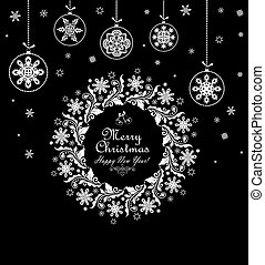 Vintage xmas black and white card with christmas wreath and hanging baubles