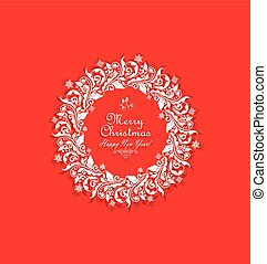 Vintage xmas paper cut out wreath with floral pattern and snowflakes