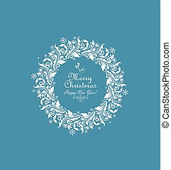 Vintage xmas paper cut out wreath with floral pattern