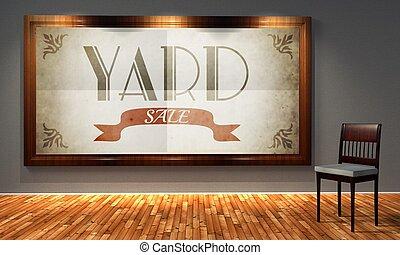 Vintage yard sale in old fashioned frame