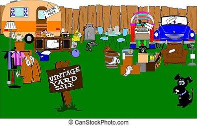 vintage yard sale - yard sale with retro and vintage items...