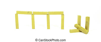 Vintage yellow building blocks isolated on white