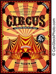Vintage Yellow Circus Poster With Big Top