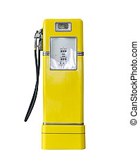 Vintage yellow fuel pump on white - Old yellow petrol...