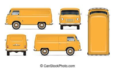 Vintage yellow minivan vector mockup