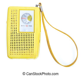 Vintage Yellow Plastic Transistor Radio Isolated