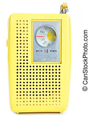 Vintage Yellow Plastic Transistor Radio Isolated White