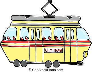 Vintage yellow tram drawing isolated. Vector illustration on a white background.