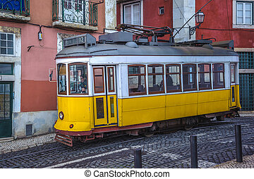 Vintage yellow tram, symbol of Lisbon, Portugal