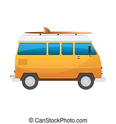 Vintage yellow travel minibus. Camper cartoon van. Tourist coach in flat design with surf board
