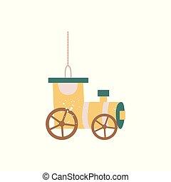Vintage yellow wagon train car - hanging Christmas tree decoration