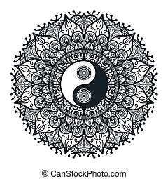 Vintage Yin and Yang in Mandala. Tao symbol for print, tattoo, coloring book, fabric, t-shirt, yoga, henna, cloth in boho style. Mehndi, occult and tribal, esoteric and alchemy sign. Vector
