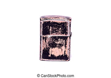 Vintage Zippo Style Lighter On a White Background