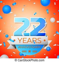 vinte, aniversário, anos, experiência., dois, laranja, fita, celebração