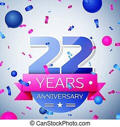 vinte, cinzento, anos, experiência., aniversário, dois, fita, celebração