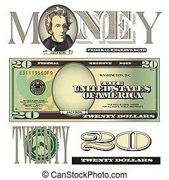 vinte, conta, dólar, elementos
