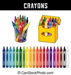 vinte, creions, cobrança, cores, arco íris