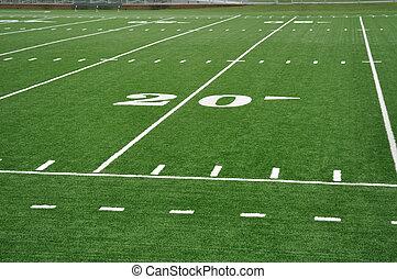 vinte, linha terreno, ligado, futebol americano, campo