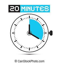 vinte, minutos, relógio parada, -, relógio, vetorial,...
