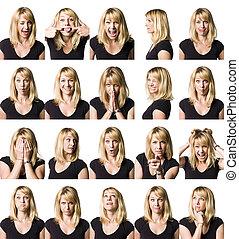 vinte, retrato, de, um, mulher, com, differnet, expressões
